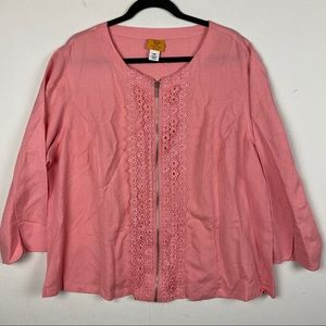 Ruby Rd Pink Lacey Linen Blend Full Zip Jacket